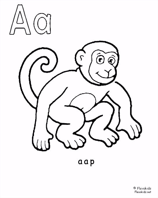 Dierenalfabet kinder kleurplaten aap