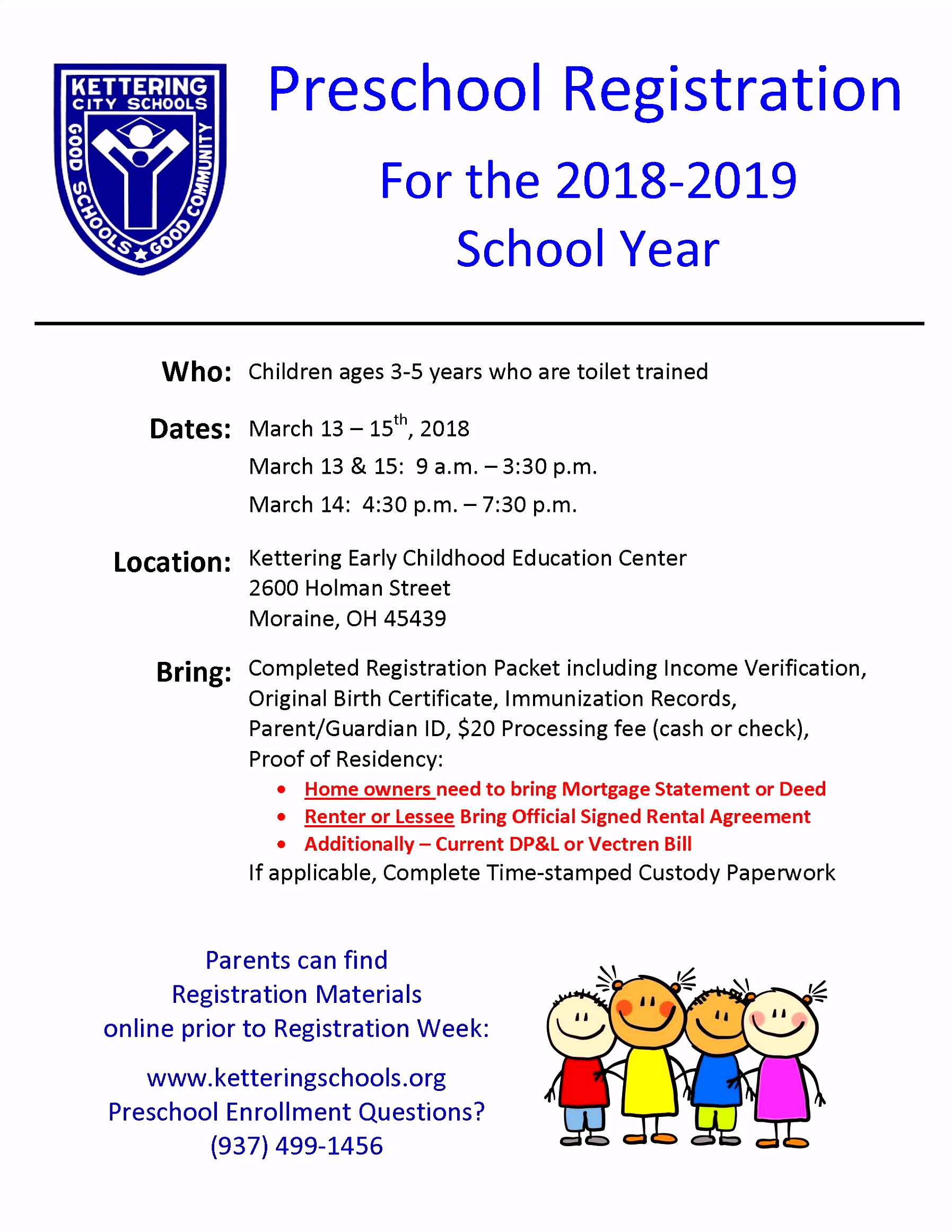 Preschool Registration Kettering City School District