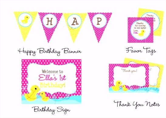 Rubber Ducky DIY Printable Personalized Birthday Party Package