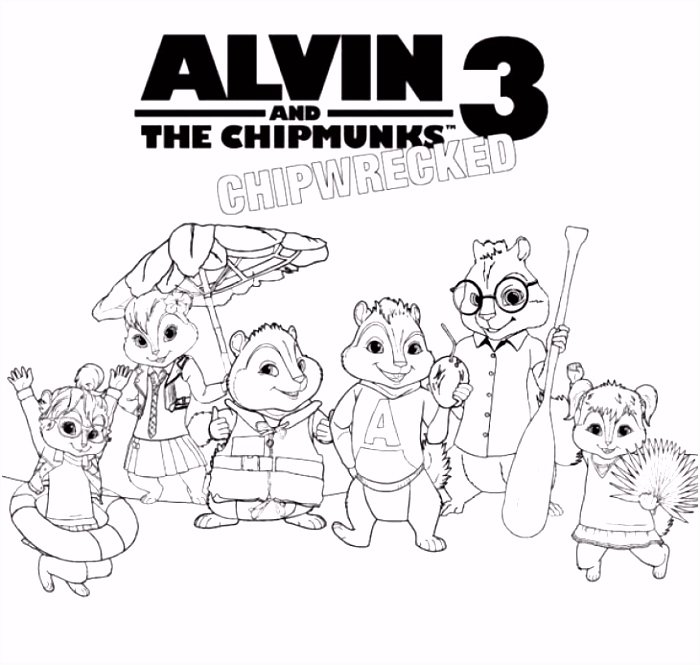Alvin and the Chipmunks 3 Chipwrecked coloring page for kids