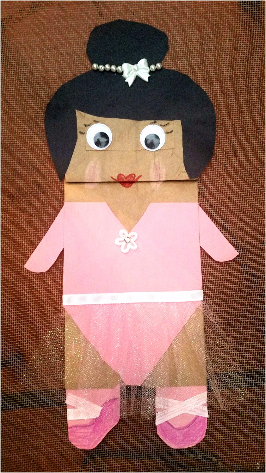 Ballet Ballerina Paper Bag Puppet pink tutu googly eyes