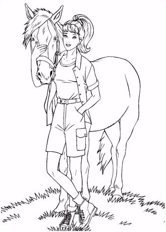 Barbie met een paard kleurplaat