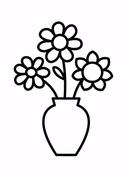 Kleurplaat vaas met bloemen Afb