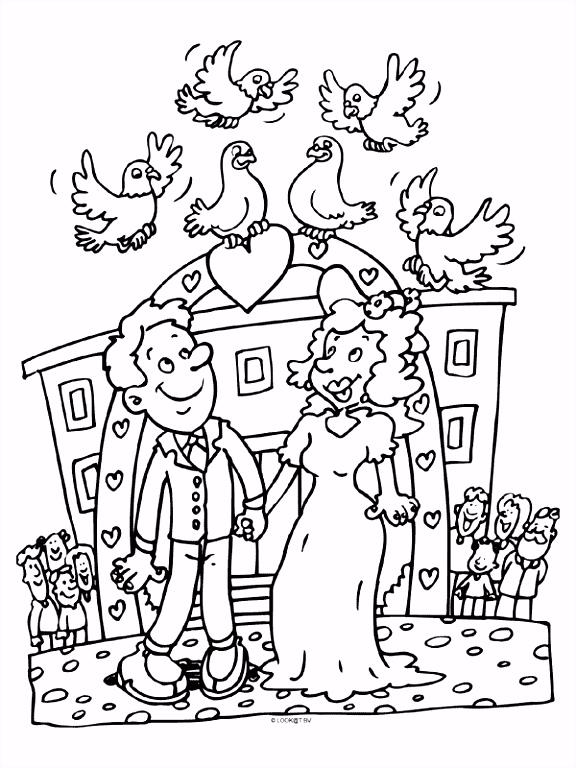 Kleurplaat Huwelijk trouwen Duiven Kleurplaten