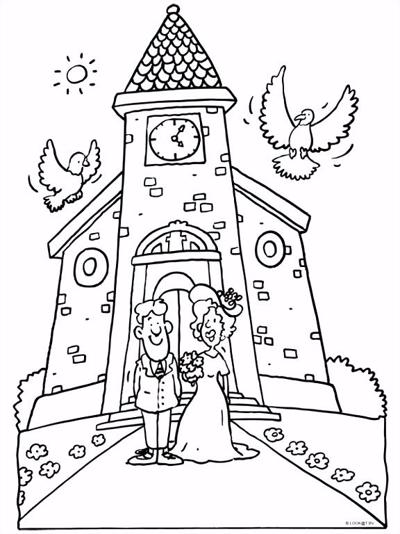Kleurplaat Trouwen huwelijk bruidspaar Kleurplaten