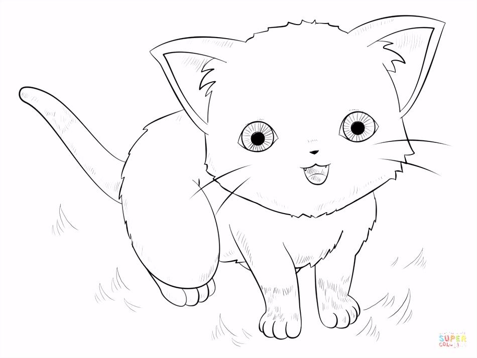Anime kat kleurplaat
