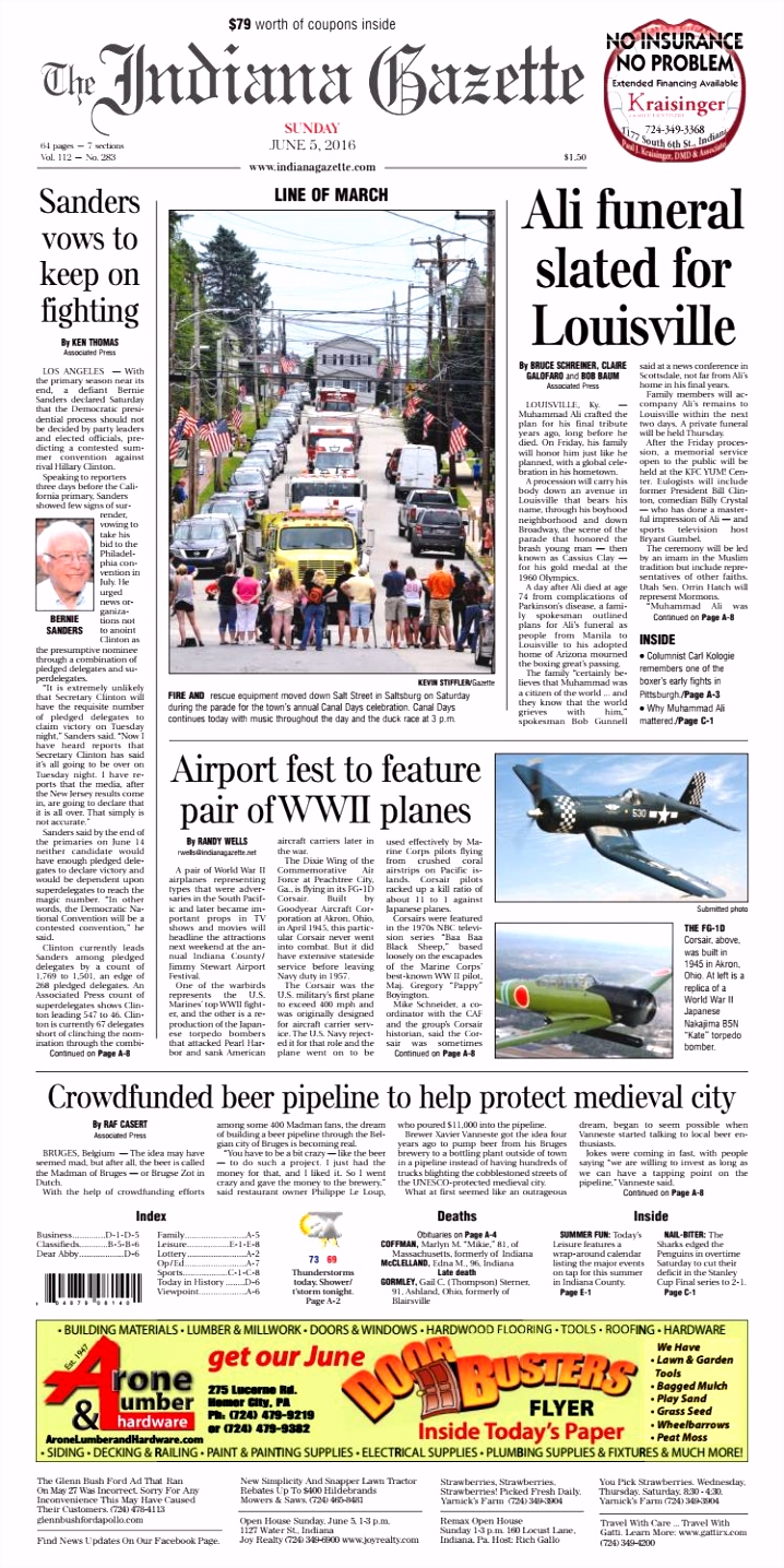 The Indiana Gazette Sunday June 5 2016 by Indiana Printing