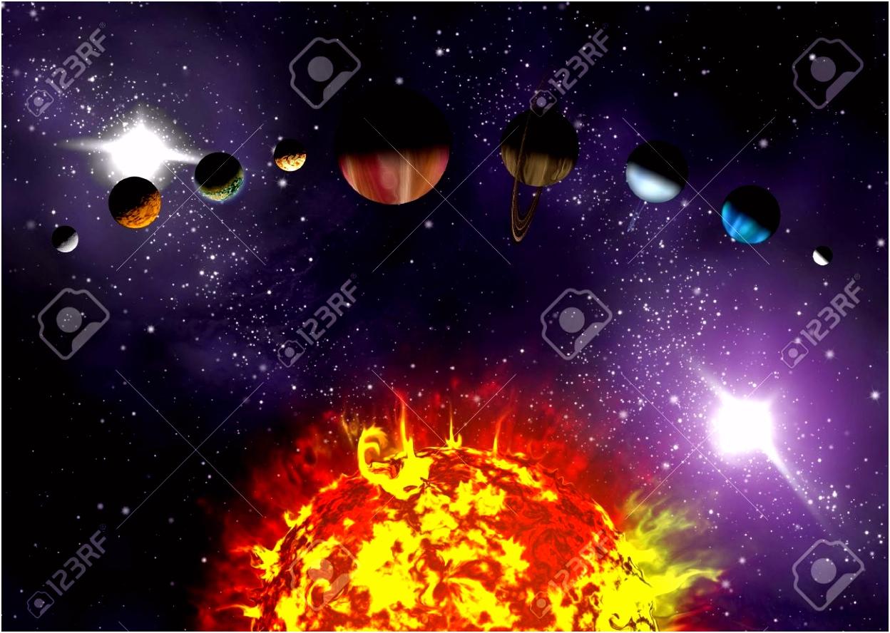 Ge¯llustreerde Diagram Dat De Volgorde Van De Planeten In s