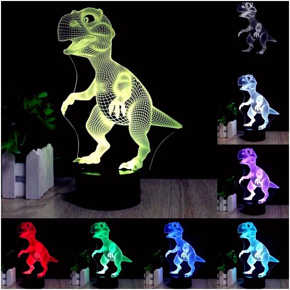 3D Dinosaur LED Desk Table Lamp 7 Color Changing USB Night Light 5V