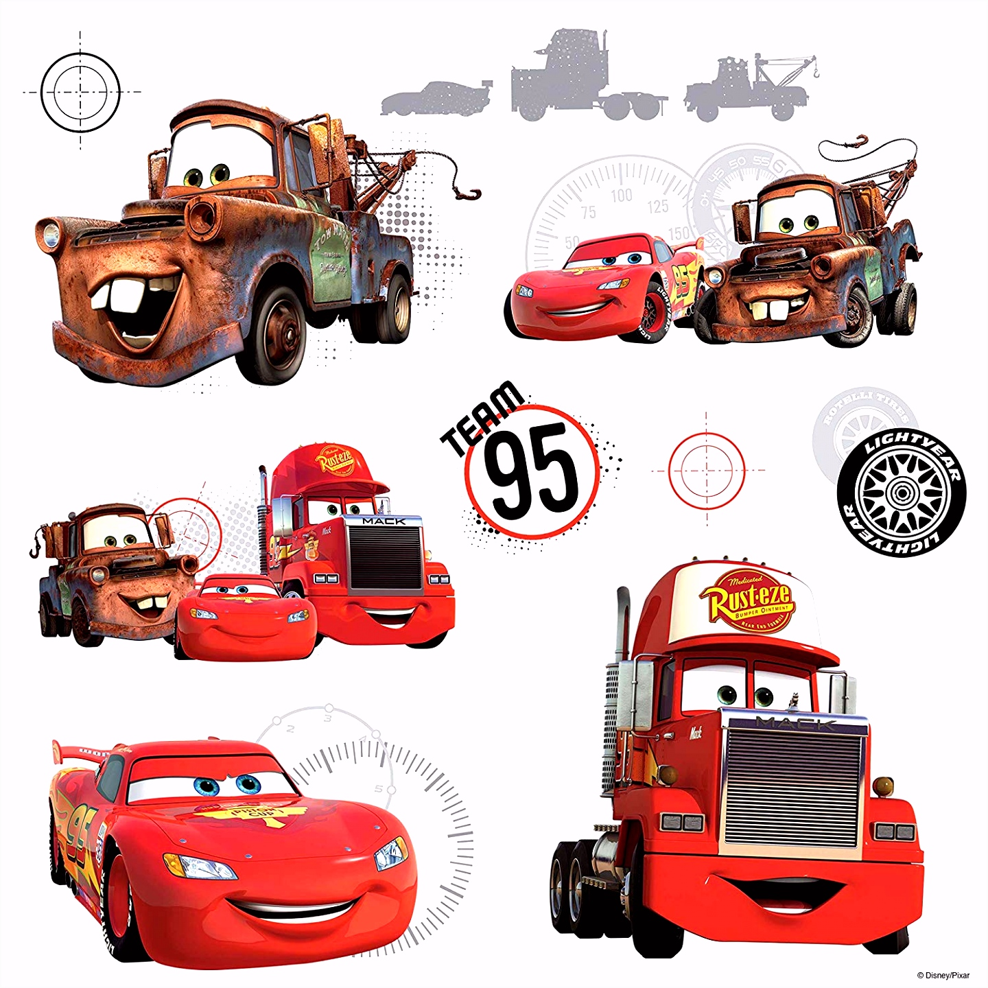Amazon Roommates Rmk2614Slv Disney Pixar Cars Team 95 Peel