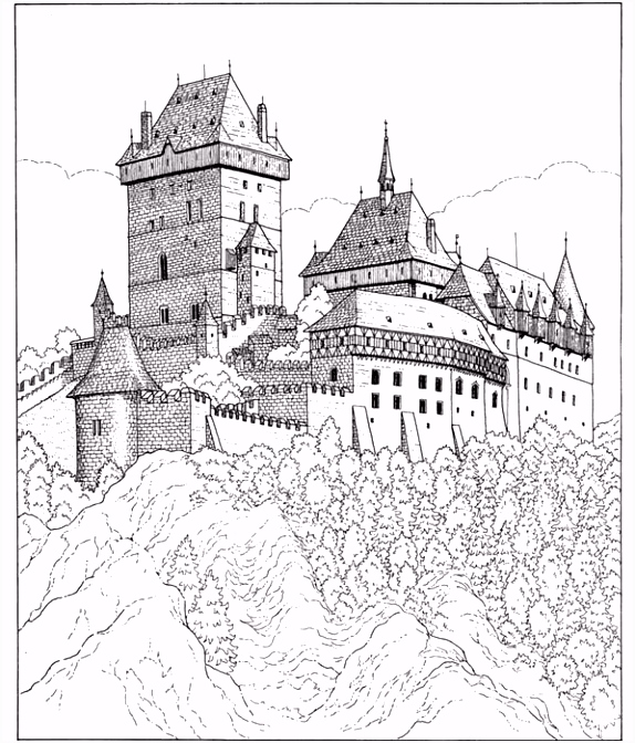 Castle To Color Coloring Pages Free Printable Coloring