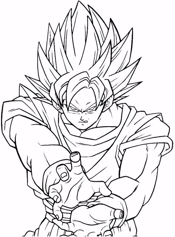 Kleurplaat Goku versneld in Super Sayen 1 DBZ