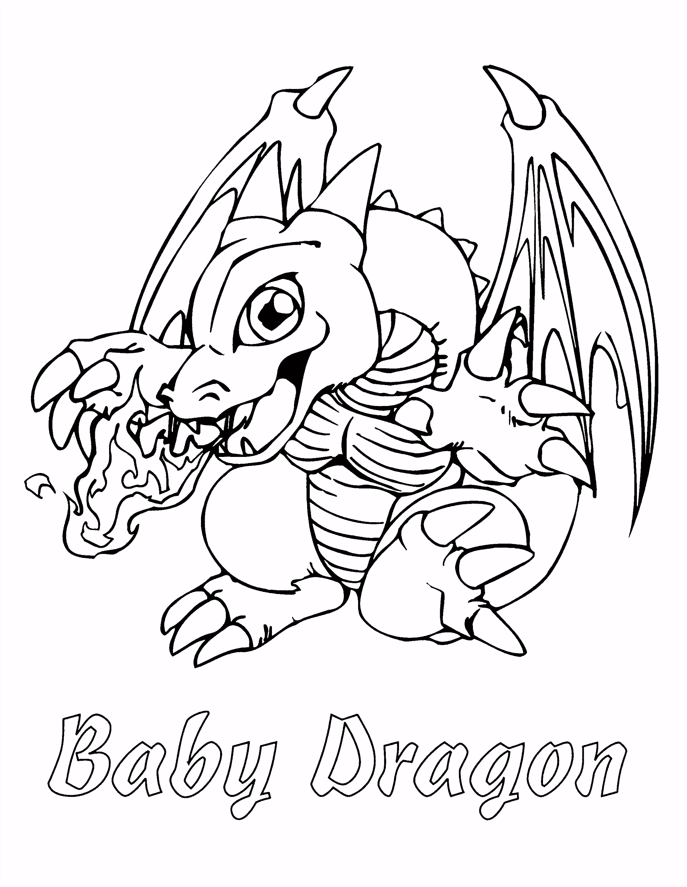 YuGiOh Paradijs Kleurplaat Baby Dragon