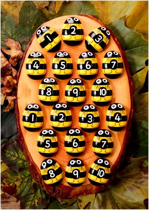 Bijtjes telstenen set van 20 Activiteitenkaarten bijtjes Zonder