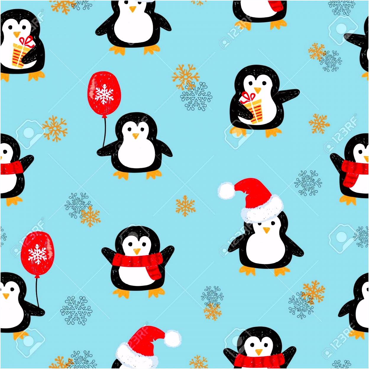Naadloos Patroon Met Leuke Kerst Pingu¯ns Vector Vakantie
