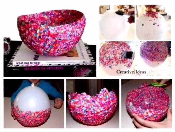 Confetti schaal maken met een ballon