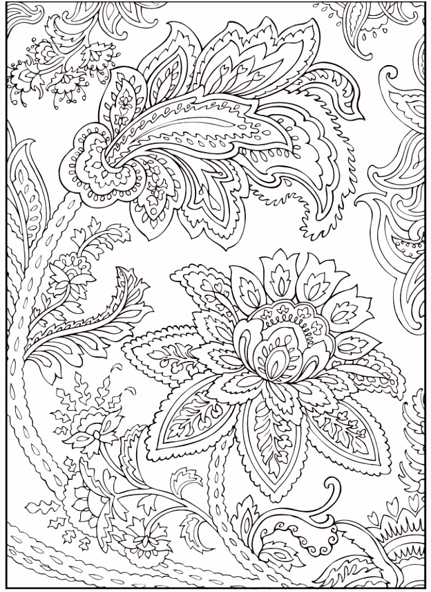 Paisley Flowers Abstract Doodle Coloring pages colouring adult