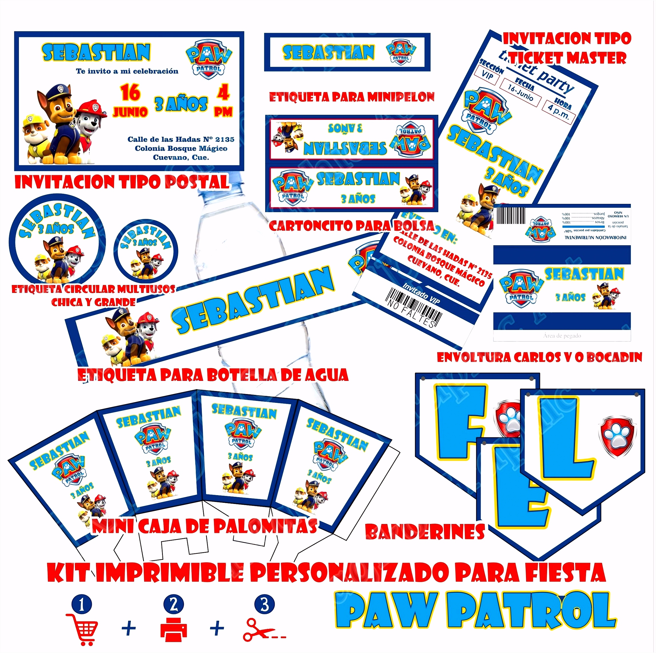 Printables voor vakantie PAW PATROL candy tabel aangepaste