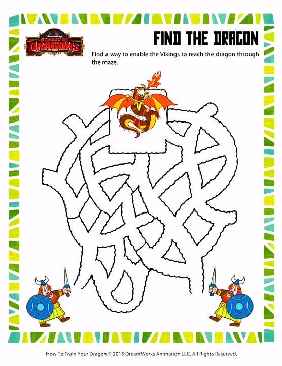 Find the Dragon Printable Mazes Worksheets