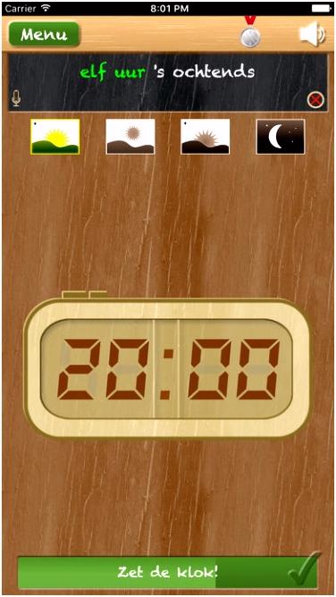 Zet de klok leren klokkijken App voor iPhone iPad en iPod touch