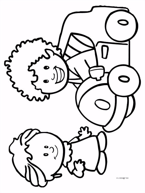 Kleurplaat Jongen en meisje Kleurplaten