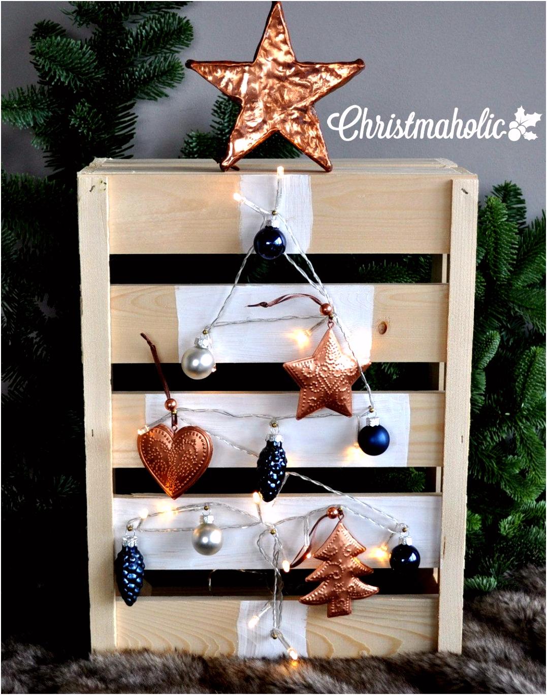 Houten kerstboom maken van een fruitkistje thema kerst