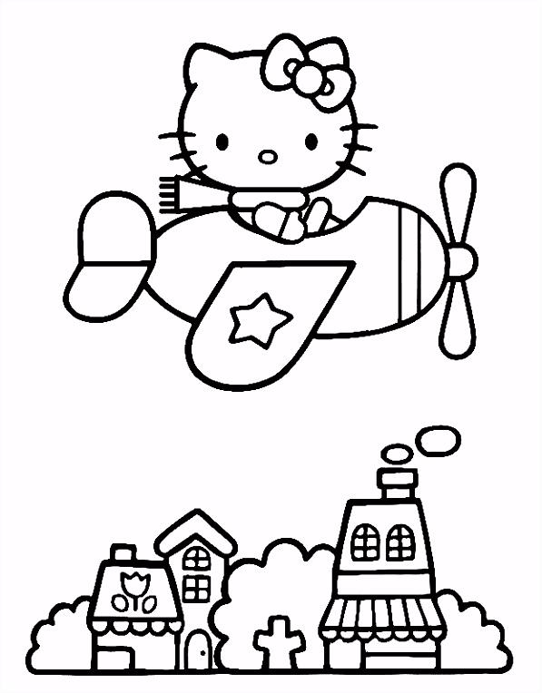 Hello Kitty kleurplaten kitty vliegtuig