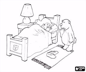 De kleine beer vindt een meisje in zijn bed sliep kleurplaat