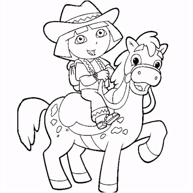 dora the explorer horse coloring page