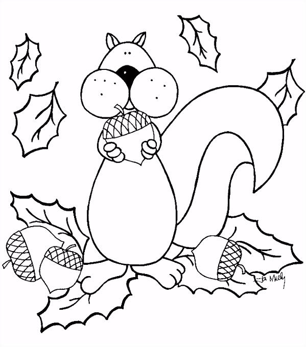 Jaar ijden herfst kleurplaten eekhoorn