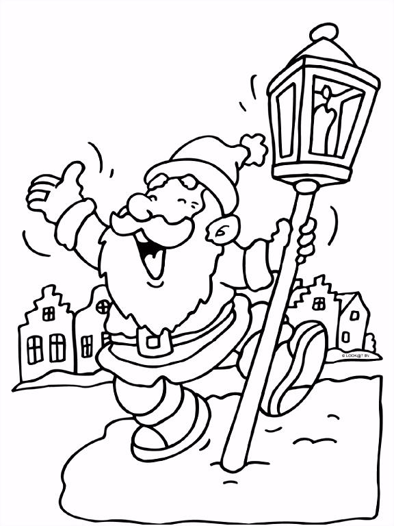 Kleurplaat Kerstman dansen lantaarn Kleurplaten