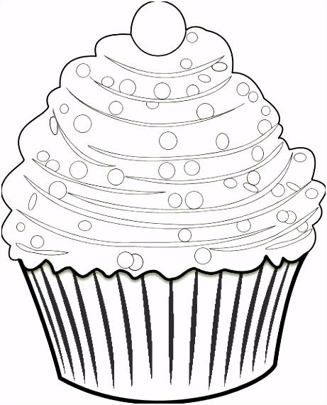 Kleurplaat Feestelijke cupcake Voor de jarige