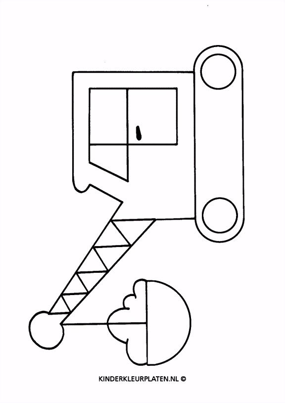 Kleurplaat kraanwagen graafmachine VERVOER