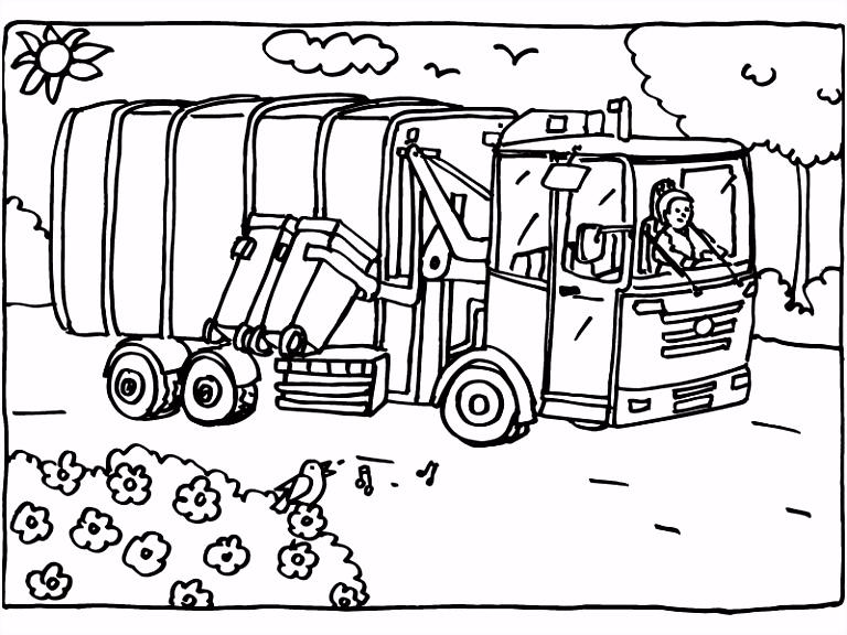 Kleurplaat vuilniswagen recycling