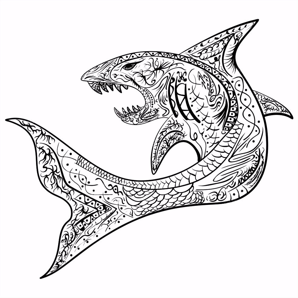 Hand ekende haai met etnische doodle patroon Kleurplaat zendala