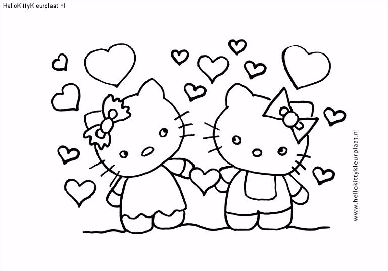 Kleurplaten Hello Kitty Met Hartjes ARCHIDEV