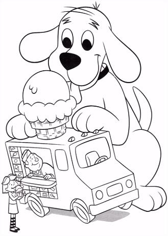 Clifford wil ijs kleurplaat