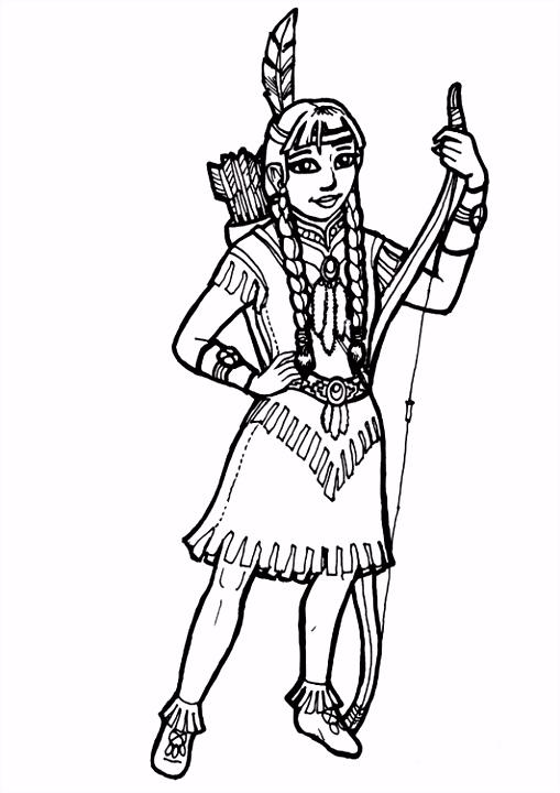 Kleurplaat indiaans meisje Afb 7173