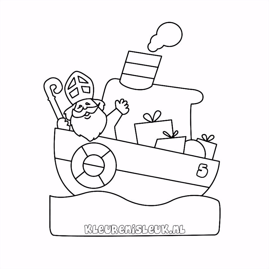 Pakjesboot 12 Kleurplaat Sinterklaas Drawing Steamboat Indiaan png
