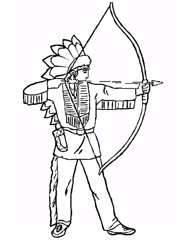 Cowboy en indianen kleurplaten indiaan pijl en boog