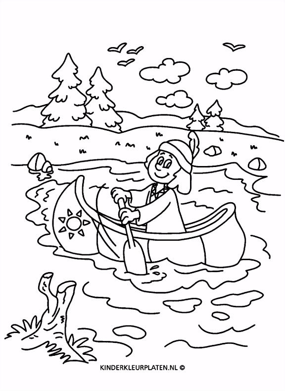Kleurplaat kajak kano indiaan VAKANTIE