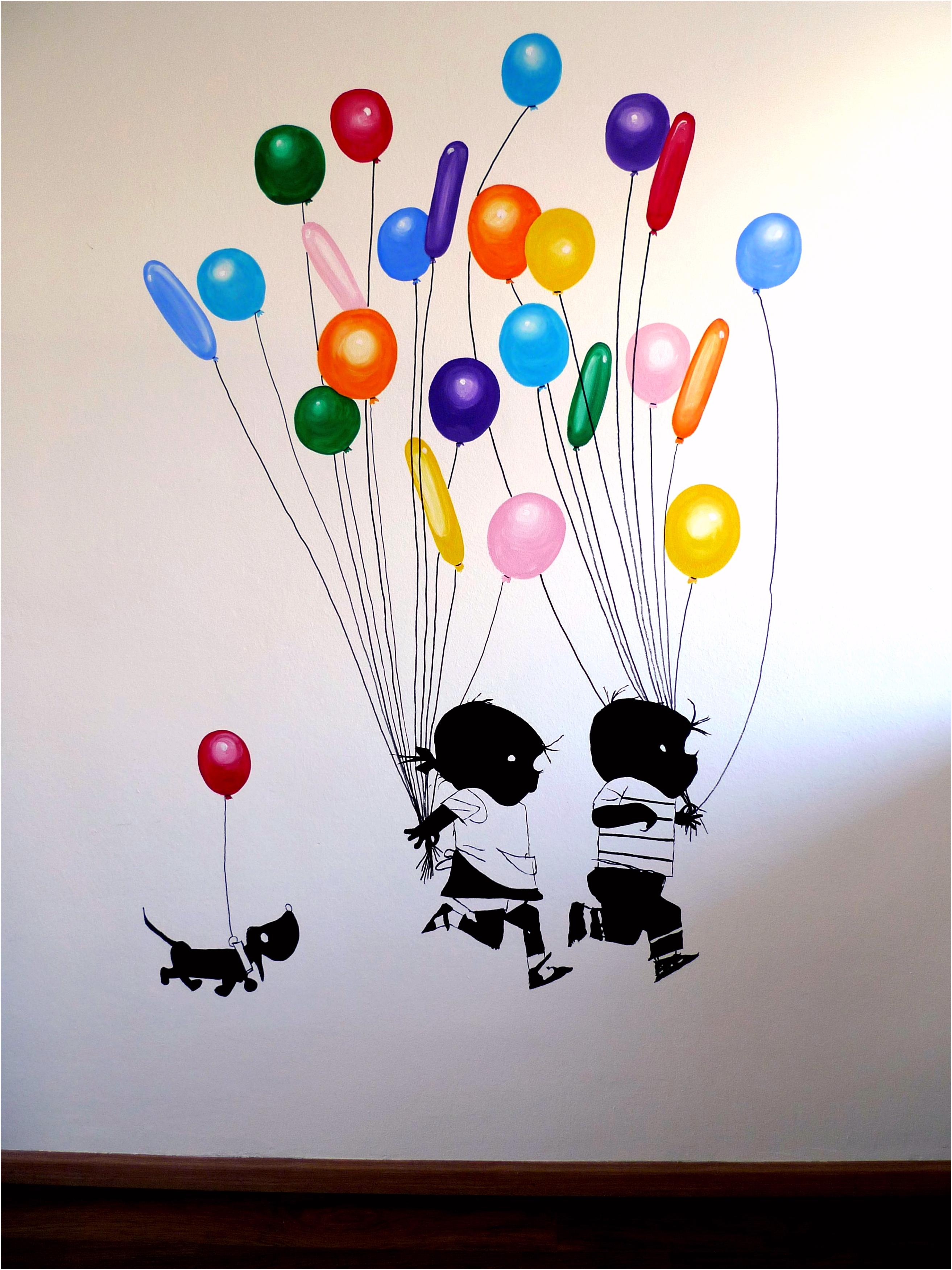 fiep westendorp Jip en Janneke muurschildering ballonnen