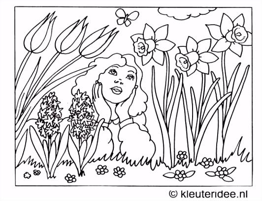 Kleurplaat het is lente kleuteridee spring coloring