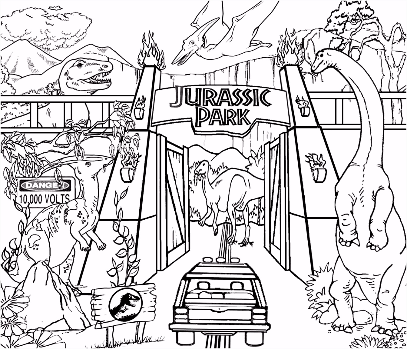 Detailed printable high resolution free clipart Jurassic park