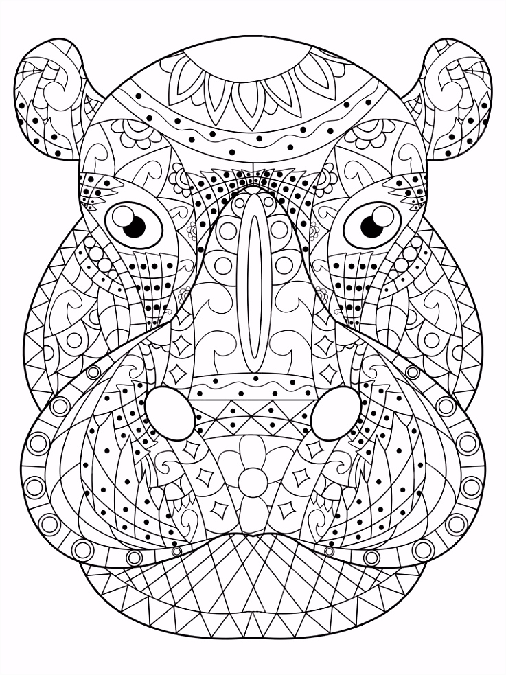 Nijlpaard hoofd vector kleurplaten voor volwassenen — Stockvector