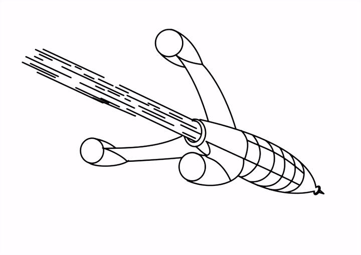 Kleurplaat raket Afb