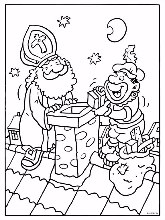 Kleurplaat Sinterklaas en zwarte piet op het dak Kleurplaten