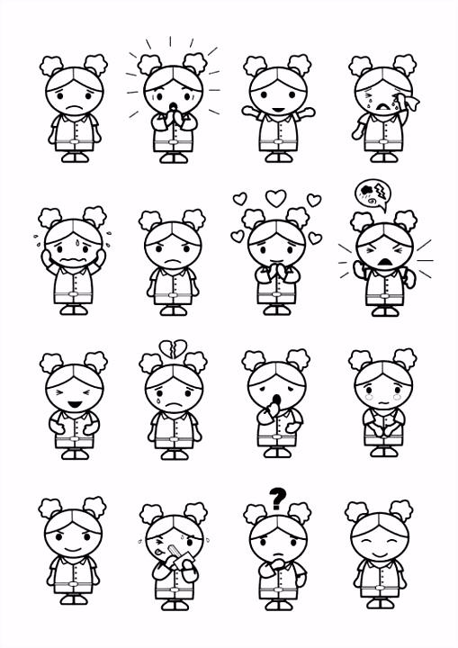 Coloring page 16 emotions Эмоции