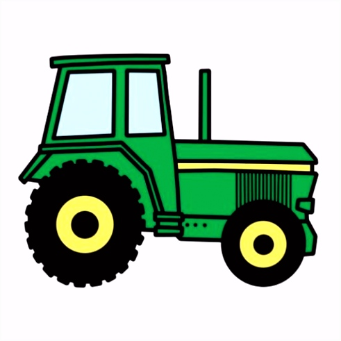 Cartoon clip art with a cool green farmer tractor truck Great for