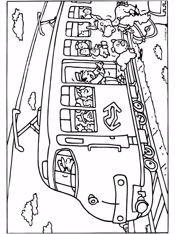 Kleurplaat Dieren in de trein Kleurplaten
